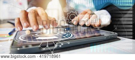 Business Technology And Digital Financial Stock Market And Banking, Close Up Hand Of Businessman Use