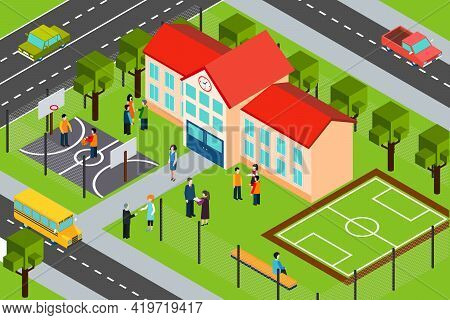 High School Educational Facility  Building With Outdoor Sport Complex And School Bus Isometric Banne