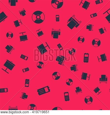 Set Cinema Ticket, Cd Or Dvd Disk, Projection Screen And Chair On Seamless Pattern. Vector