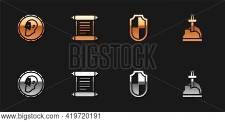 Set Ancient Coin, Decree, Parchment, Scroll, Shield And Sword The Stone Icon. Vector