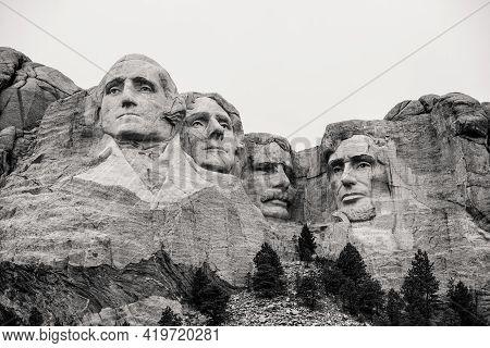 Keystone, South Dakota - April 25, 2021: Mount Rushmore National Monument In Black Hills South Dakot