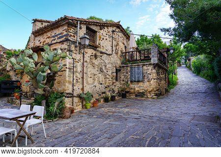 Old Medieval Village Houses With Steep Narrow Alley. Patones De Arriba Madrid. Spain.