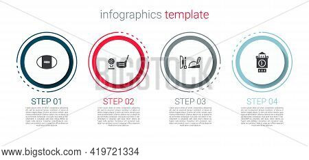 Set Rugby Ball, Golf Club With On Tee, Robin Hood Hat And Big Ben Tower. Business Infographic Templa