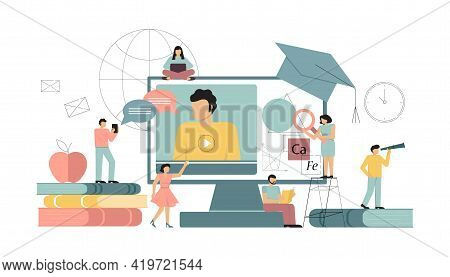 Online Education At Home, Concepts E-learning. Vector Illustration On White Background