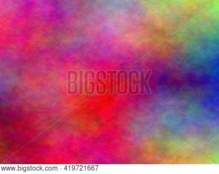 Abstract Fractal Background. Oil Painting On Canvas. Brushstrokes Of Paint. Modern Art. Multi Colour