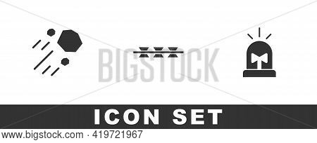 Set Flying Stone, Barbed Wire And Flasher Siren Icon. Vector