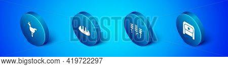Set Isometric Cockerel Lollipop, Wheat, Ushanka And Bread Loaf Icon. Vector