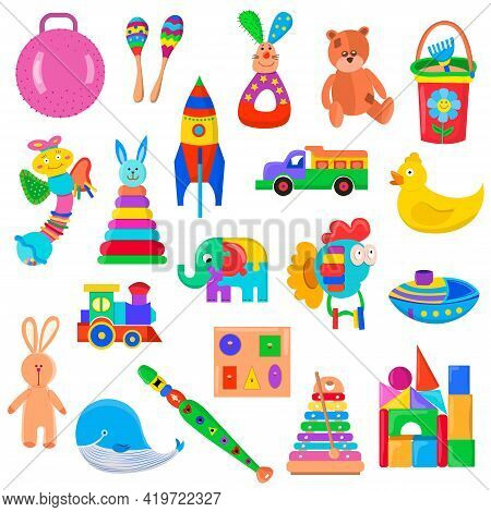 Kids Toys Set. Collection Of Toys For Small Children. Plastic And Wooden Toys. Activity And Fun Game