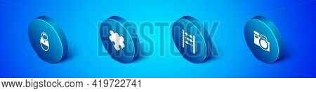 Set Isometric Tumbler Doll Toy, Abacus, Photo Camera And Puzzle Pieces Icon. Vector