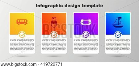 Set Bus Toy, Tumbler Doll, Portable Video Game Console And Toy Boat. Business Infographic Template.