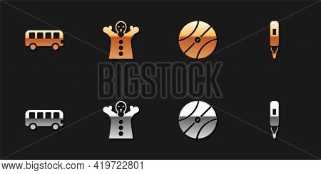 Set Bus Toy, Toy Puppet Doll On Hand, Basketball Ball And Marker Pen Icon. Vector