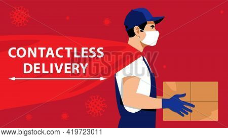 Contactless Delivery. Courier In Protective Medical Mask And Gloves Keeping Cardboard Box. Shipping
