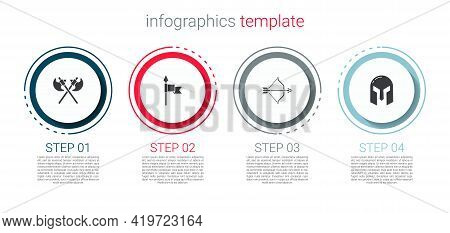 Set Crossed Medieval Axes, Medieval Spear, Bow And Arrow And Iron Helmet. Business Infographic Templ