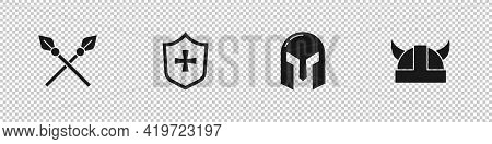 Set Crossed Medieval Spears, Shield, Medieval Iron Helmet And Viking In Horned Icon. Vector