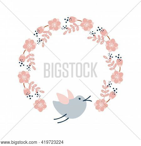 Vector Colorful Circular Floral Wreaths With Summer Flowers And Bird Central White Copy Space For Yo