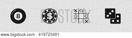 Set Billiard Pool Snooker Ball, Casino Chip With Dollar, Tic Tac Toe Game And Game Dice Icon. Vector
