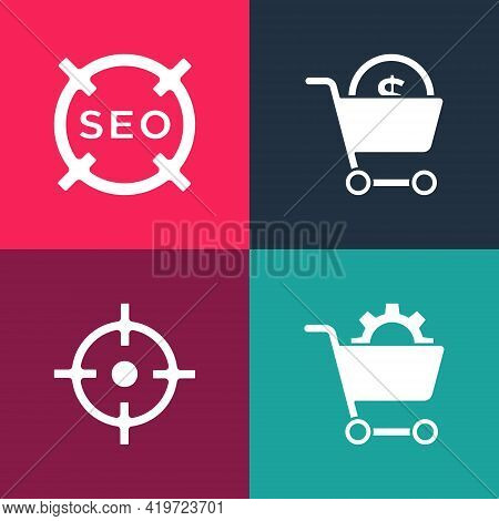 Set Pop Art Shopping Cart, Target Sport, And Dollar And Seo Optimization Icon. Vector