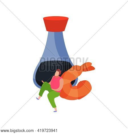 Bottle Of Soy Sauce Prawn And Small Human Character Flat Icon Vector Illustration