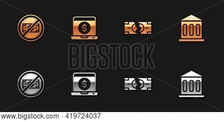 Set No Money, Laptop With Dollar, Tearing Banknote And Bank Building Icon. Vector