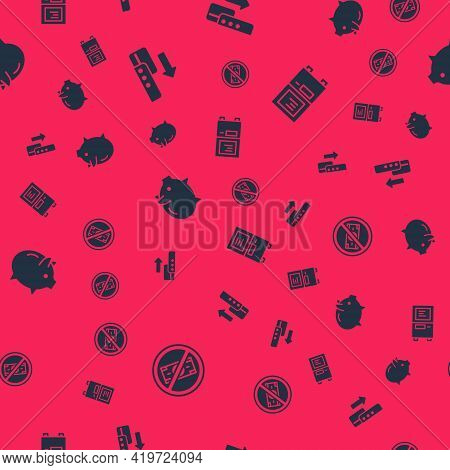 Set No Money, Pos Terminal, Piggy Bank And Atm On Seamless Pattern. Vector
