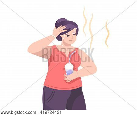Weather Composition With Flat Human Character Of Woman With Cocktail Suffering From Heat Vector Illu