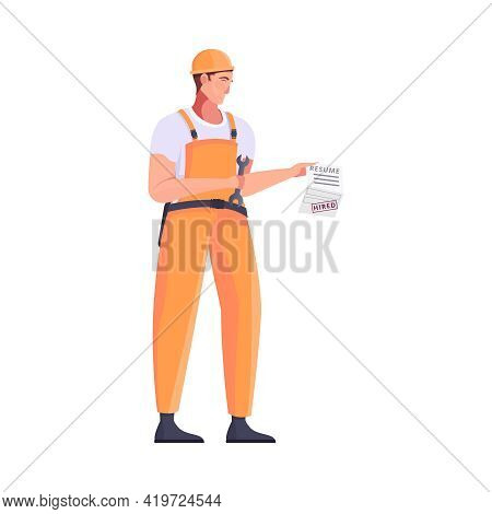 Migrant Workers Flat Composition With Character Of Male Engineer In Uniform With Work Contract Vecto