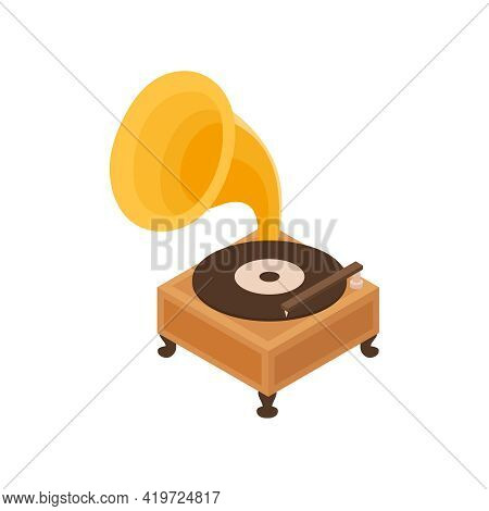 Pawn Shop Isometric Composition With Isolated Image Of Vintage Gramophone Vector Illustration
