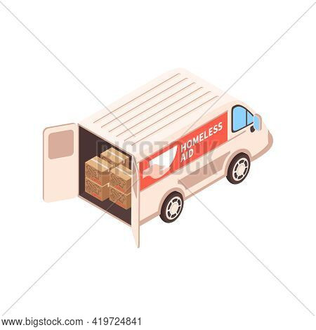 Isometric Voluneer Food Homeless Poor Composition With Isolated Image Of Charity Van With Donation B