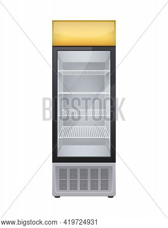 Commercial Glass Door Drink Fridge Realistic Composition With Isolated Image Of Shop Fridge For Drin