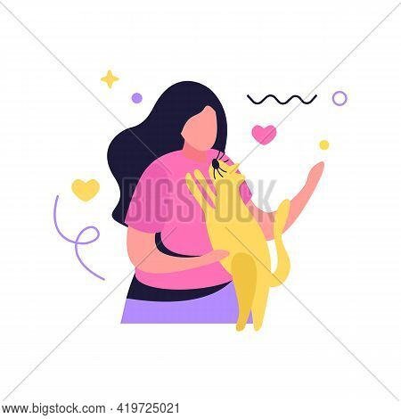 Hug Day Flat Composition With Human Character Of Woman Embracing Her Dog Vector Illustration