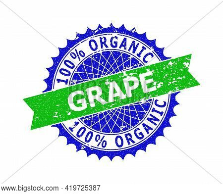 Vector 100 Percents Organic Grape Bicolor Stamp Seal With Corroded Texture. Blue And Green Colors. F