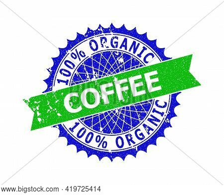 Vector 100 Percents Organic Coffee Bicolor Seal With Unclean Style. Blue And Green Colors. Flat Seal