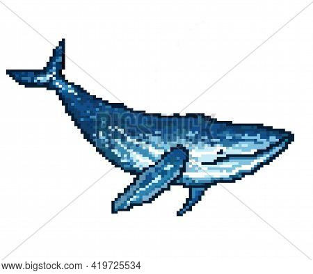 8-bit Blue Whale In Pixel Art. Vector Illustration
