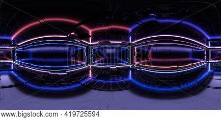 Full 360 Panorama Of Futuristic Neon Light Building Interior With Sci-fi Design 3d Render Illustrati