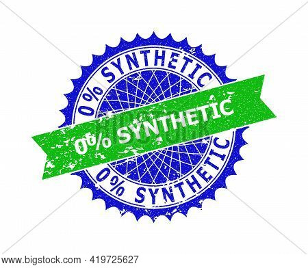 Vector 0 Percents Synthetic Bicolor Stamp Seal With Corroded Style. Blue And Green Colors. Flat Seal