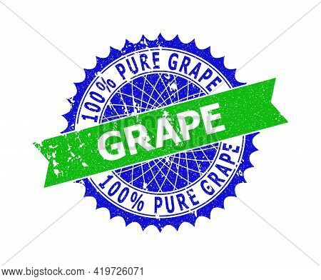 Vector 100 Percents Pure Grape Bicolor Seal With Corroded Texture. Blue And Green Colors. Flat Seal