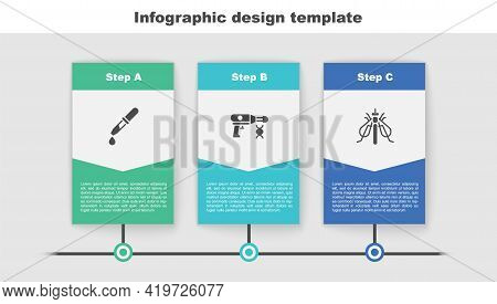 Set Pipette, Transfer Liquid Gun And Experimental Insect. Business Infographic Template. Vector