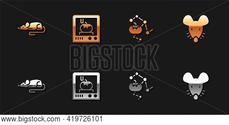 Set Experimental Mouse, 3d Printing Technology, Genetically Modified Food And Icon. Vector