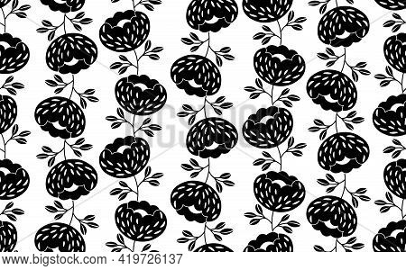 Seamless Black And White Pattern Based On Traditional Folk Art Ornaments. Modern Floral Flowers Back