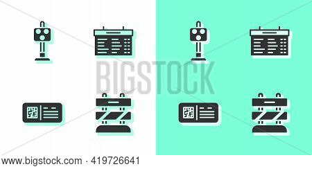 Set End Of Railway Tracks, Train Traffic Light, Qr Code Ticket Train And Station Board Icon. Vector