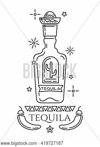 Tequila Logo Design. Black And White Emblem Depicting A Stylized Tequila Bottle. Vector Illustration