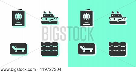 Set Wave, Passport, Sunbed And Umbrella And Cruise Ship Icon. Vector