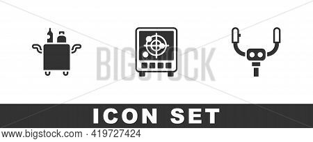 Set Trolley For Food, Radar With Targets On Monitor And Aircraft Steering Helm Icon. Vector