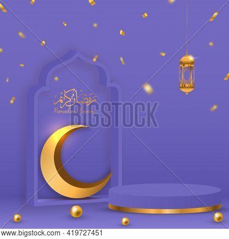 3d Ramadan Kareem Violet Background  Translation Of Text : Ramadan Kareem Gold Crescent Decoration G