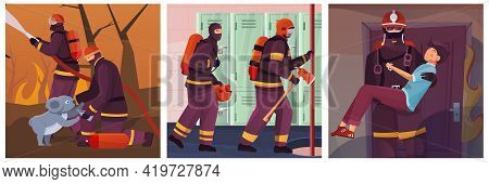 Firefighters Set Of Three Square Compositions With Views Of Fighting Fire Saving People And Firefigh