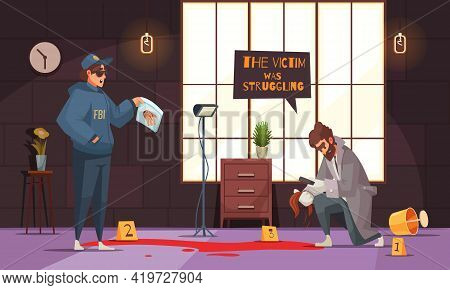 Crime Scene Investigation Cartoon Composition With Detective And Police Officer Examining Victims Bl