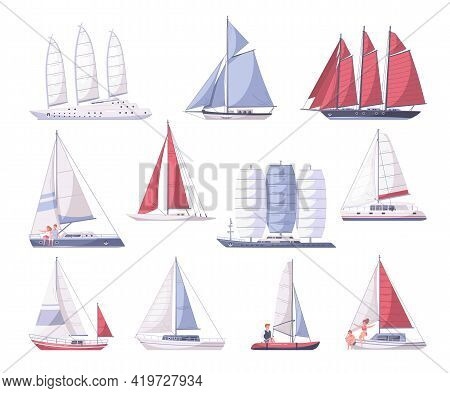 Set Of Yachting Cartoon Icons With Isolated Images Of Yachts Of Various Size On Blank Background Vec