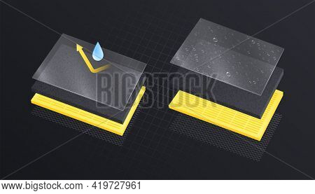 Layered Materials Realistic Composition With View Of Rectangular Layers In Stack With Drop And Arrow