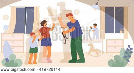 Violence Family Composition With Home Living Room Scenery And Characters Of Arguing Parents With Cry