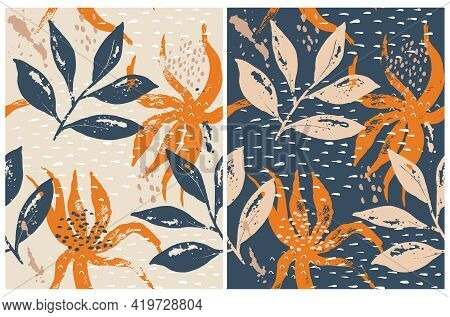 Abstract Floral Vector Seamless Pattern. Blue, Beige And Orange Hand Drawn Twigs And Leaves Isolated
